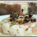 recette ** Tartare de noix de saint jacques et saumon réveillé par une note de fruit de la passion**