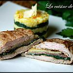 recette Risotto safrané aux épinards avec son escalopede veau au jambon de Parme et Comté