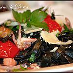 recette Fettucini al nero seppia aux fruits de mer et tomates cocktails