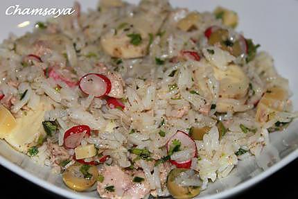 recette de salade de riz au thon radis et coeur de palmier. Black Bedroom Furniture Sets. Home Design Ideas