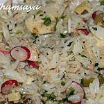 recette Salade de riz au thon, radis et coeur de palmier