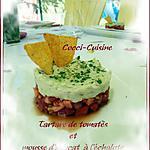 recette Tartare de tomates et mousse d'avocat à l' échalote