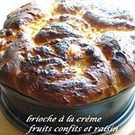 recette brioche à la crème,fruits confits et raisins