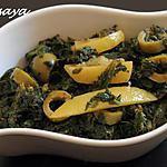 recette Epinards aux olives et citron confit