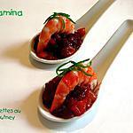 Cuillères de crevettes au chutney de betterave et mangue