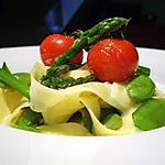 recette Tagliatelles sauce gorgonzola, légumes croquants et tomates confites..