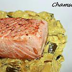 recette Pavé de saumon sur son lit de poireaux