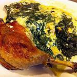 recette Cuisse de canard et son gratin d'épinards à la noix de muscade