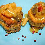 recette Vols-aux-vents cocolactés aux crevettes, salsifis et champignons au curry