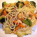 Spaghetti Légumes Crevettes