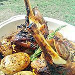 recette Souris d'agneau et ses pommes de terre confites aux epices à l'huile d'olive, miel et thym...  au four
