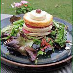 recette Salade aux tomates confites et croque monsieur chèvre-bacon façon millefeuille