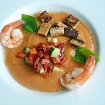recette Gaspacho aux crevettes, croutons au miel