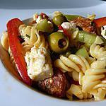 recette Salade de pâtes auxtomates séchées, poivrons et  chorizo