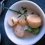 recette Noix de pétoncles flambées à l'Armagnac, crème au poivre de Séchuan