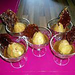 recette poires pochées à la crème de carambar et ses tuiles