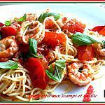 Spaghettis aux scampi et basilic
