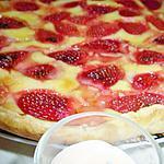 recette Tarte au flan patissier & fraises