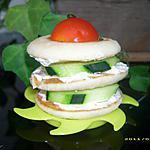 recette petit millefeuilles de blinis au fromage frais et concombre (apéro frais)