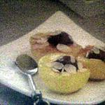 recette Pêches farcies au sorbet de framboises