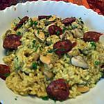 recette rizotto safrane au moules et chorizo
