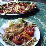 recette Escalopes panées  aux tomates et haricots verts...........