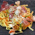 recette tagliatelle fraîche aux deux légumes accompagné de speck et st jacques citronné