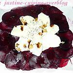 recette Carpaccio de bettrave et sa robe blanche de mozzarella
