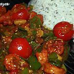 recette Sauté de crevettes aux poivrons, tomates cerise et sésame