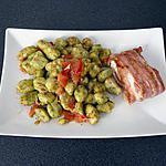 recette gnocchis épinard et cabillaud bardé de lard fumé