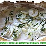 recette Concombres crémés au vinaigre de framboise et menthe