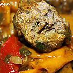 recette Tajine de kefta aux pommes de terre nouvelles et poivrons