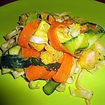 recette SAUMON ET TAGLIATELLES FRAICHES SAUTEES AUX LEGUMES