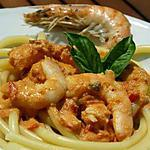 PERCIATELLI AUX GAMBAS SAUCE TOMATE ET GUINNESS
