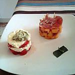 Tomates mozzarella avec chantilly au basilic  et chiffonnade melon et jambon sec