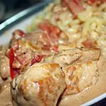 recette Emincé de poulet aux poivrons