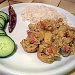 recette curry de lieu noir et crevettes