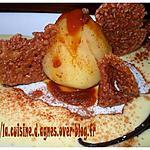 recette Poire pochée  à la crème de caramel  et ses croutillants au chocolat