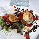 recette Salade à l'aubergine grillée tomates et fromage de chèvre et lardons