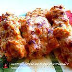 recette cannelloni farcie boeuf coriande, sauce basilic