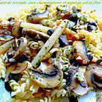 recette sauté de torsade, aux champignons et asperge ail et fines herbes