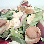 Salade au magret de canard , toast au fois gras et sa sauce fois gras  'concocter par mr gourmand'