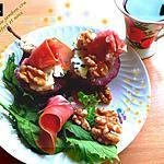 recette Poires au jambon cru, roquefort et noix