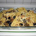 recette gratin de penne au poulet et aubergines(plat complet)