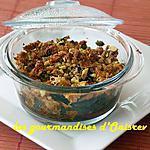 recette Crumble salé aux poivrons, tomates, basilic et pistaches