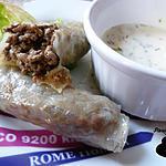 recette Nems au boeuf et crème à l'ail