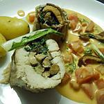 recette Aile de raie farcie au choux chinois et aux shiitakes, sauce crémeuse au cerfeuil et aux tomates