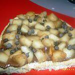 recette bruschetta sucrée nutella-poires macérés au grand marnier