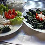 recette Pavés de saumon à la créme fraiche épinards et riz.