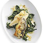 recette Filets de poisson avec épinards et amandes